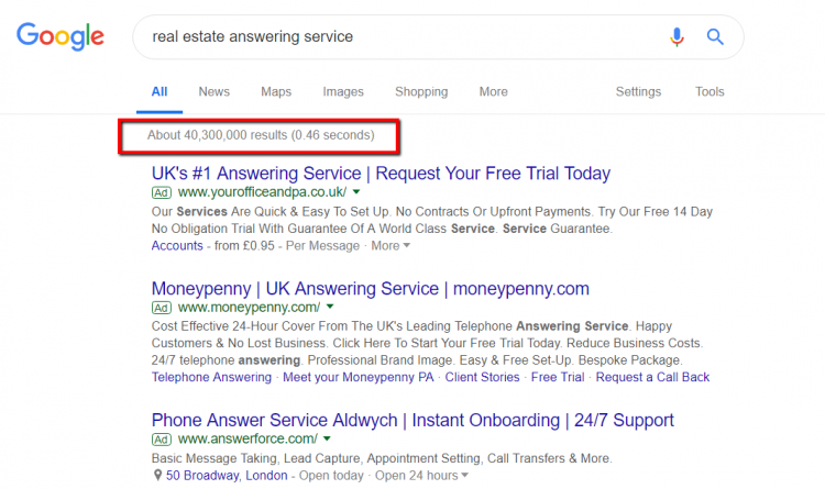 Search for real estate answering service