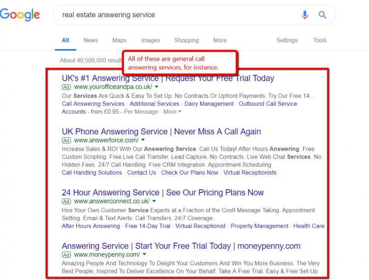 Real estate answering service Google search