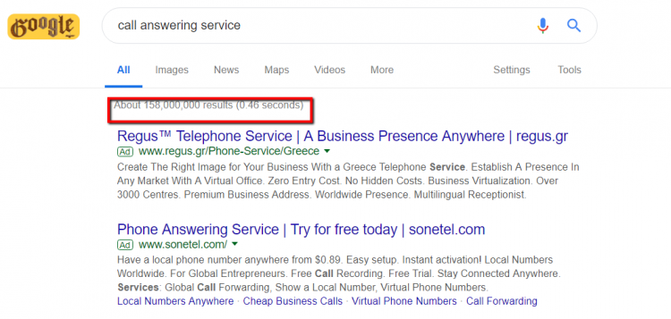 call answering service google search